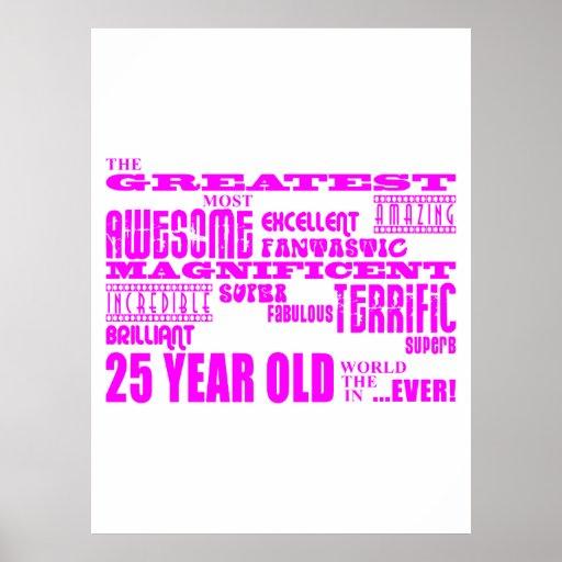 25tos cumpleaños veinticinco más grandes rosados d poster