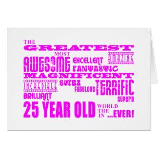 25tos cumpleaños veinticinco más grandes rosados tarjeta de felicitación