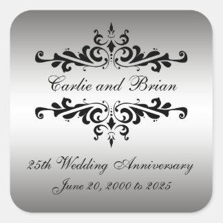 25tos pegatinas del aniversario de boda del negro pegatina cuadrada