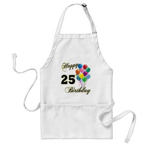 25tos regalos de cumpleaños felices con los globos delantales