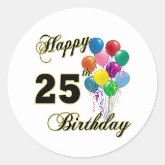 25tos regalos de cumpleaños felices con los globos pegatina redonda
