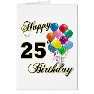 25tos regalos de cumpleaños felices con los globos felicitación