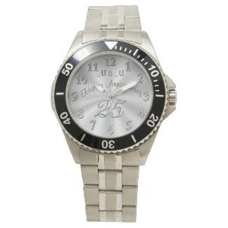25tos relojes CONES MONOGRAMA del aniversario para