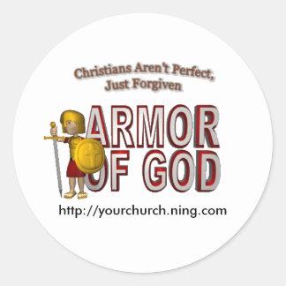 25zjxb9, ARMOROFGOD, http://yourchurch.ning.com Classic Round Sticker