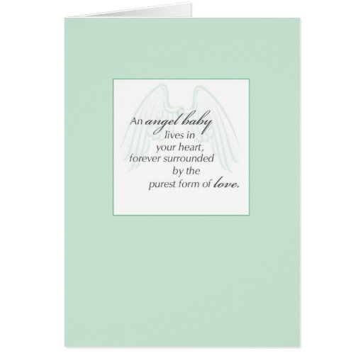 2653 Angel Baby Wings Green, Sympathy Greeting Card