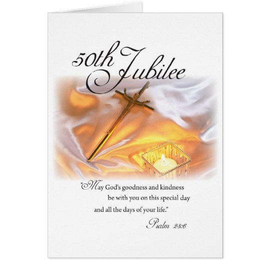 2682 golden jubilee religious life cross candle card  zazzle