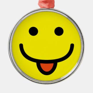 2698-Royalty-Free-Single-Emoticon-Tongue-Out FELIZ Adorno Redondo Plateado