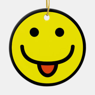 2698-Royalty-Free-Single-Emoticon-Tongue-Out FELIZ Adorno Redondo De Cerámica