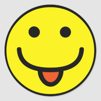 2698-Royalty-Free-Single-Emoticon-Tongue-Out FELIZ Pegatina Redonda