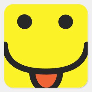 2698-Royalty-Free-Single-Emoticon-Tongue-Out FELIZ Pegatina Cuadrada