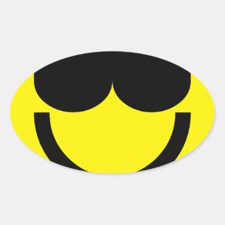 2699-Royalty-Free-Emoticon-With-Sunglasses Pegatina Ovalada