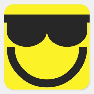 2699-Royalty-Free-Emoticon-With-Sunglasses Pegatina Cuadrada