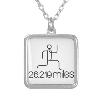 26.219 miles marathon distance silver plated necklace
