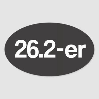 26.2-er © or Marathoner - Funny Marathon Runners Oval Stickers