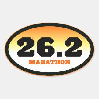 26.2 Marathon Black and Orange Oval Oval Sticker