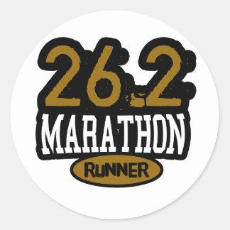 26.2 Marathon Runner Round Sticker