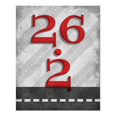 26.2 Marathon Running Poster Red Gray Runner Art
