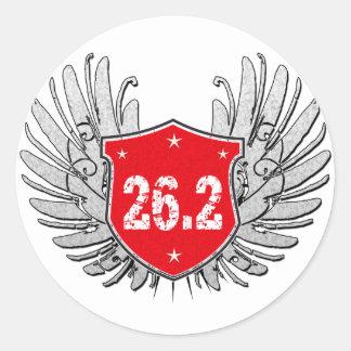 26.2 Marathon Shield Classic Round Sticker