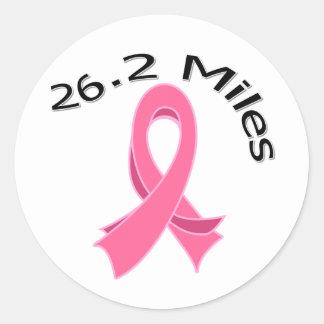 26 2 Miles Marathon Ribbon Breast Cancer Round Stickers