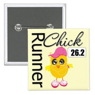 26 2 Miles Marathon Runner Chick Pinback Buttons