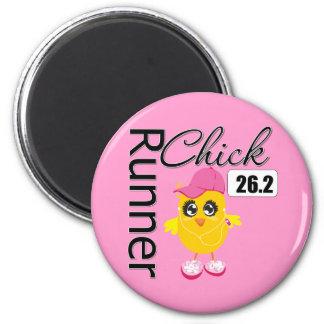 26.2 Miles Marathon Runner Chick 2 Inch Round Magnet