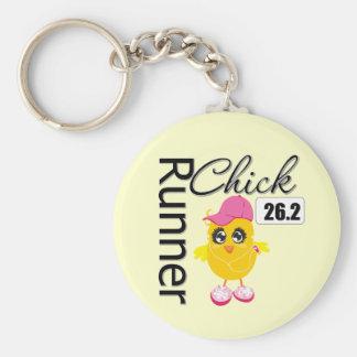 26,2 millas de maratón de polluelo del corredor llaveros personalizados