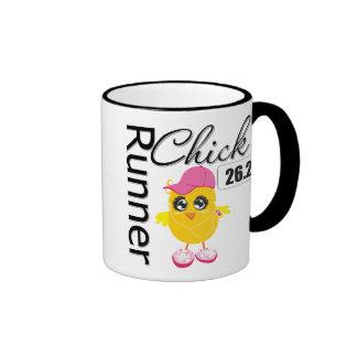 26,2 millas de maratón de polluelo del corredor taza a dos colores