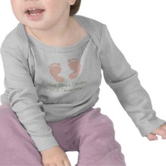 26.2 Pink Baby Footprints Infant Long Sleeve Tee