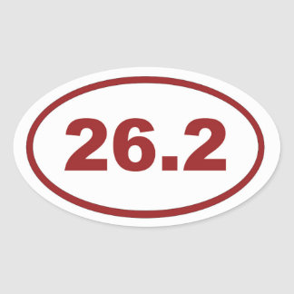 26,2 Rojo marrón Pegatina Ovalada