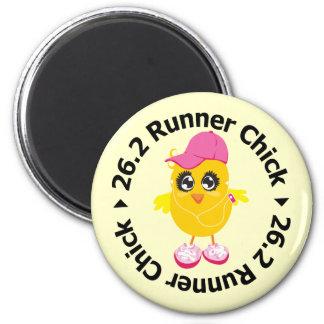 26.2 Runner Chick 2 Inch Round Magnet