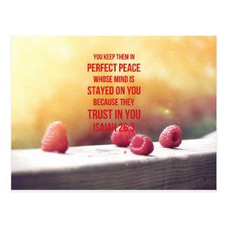 26:3 perfecto de Isaías de la paz Tarjetas Postales