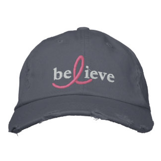 ($26.95) Believe Breast Cancer Ribbon Hat Embroidered Hat