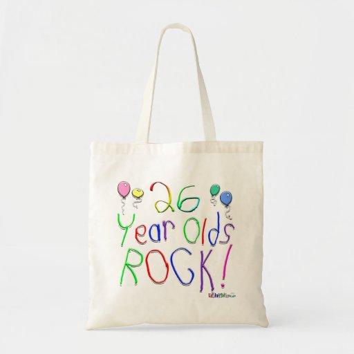 ¡26 años de la roca! bolsa lienzo