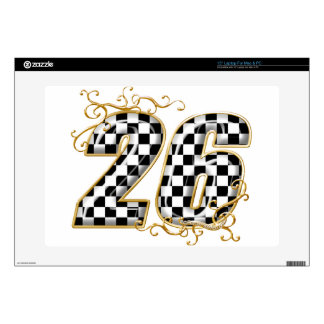 """26 gold checkers flag number 15"""" laptop decal"""