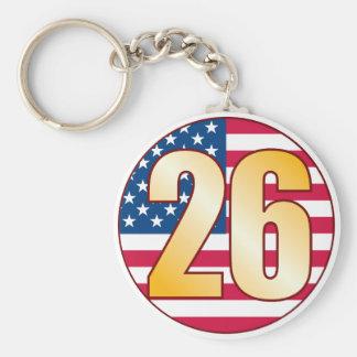 26 USA Gold Basic Round Button Keychain