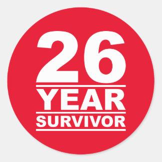 26 year survivor classic round sticker