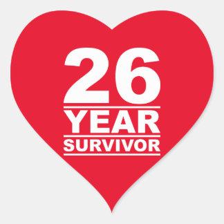 26 year survivor heart sticker