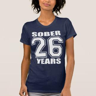 26 YEARS  Sober White on Dark Tee Shirt