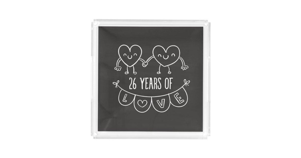 26th Wedding Anniversary Gift: 26th Anniversary Gift Chalk Hearts Acrylic Tray