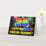 [ Thumbnail: 26th Birthday: Bold, Fun, Fireworks, Rainbow 26 Card ]