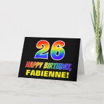 [ Thumbnail: 26th Birthday: Bold, Fun, Simple, Rainbow 26 Card ]