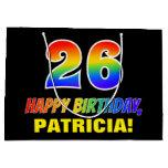[ Thumbnail: 26th Birthday: Bold, Fun, Simple, Rainbow 26 Gift Bag ]