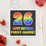 [ Thumbnail: 26th Birthday: Bold, Fun, Simple, Rainbow 26 Napkins ]