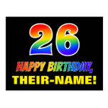 [ Thumbnail: 26th Birthday: Bold, Fun, Simple, Rainbow 26 Postcard ]
