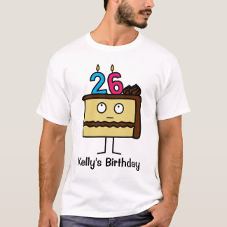 26th Birthday Cake with Candles T-Shirt