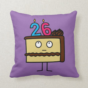 26th Birthday Cake With Candles Throw Pillow