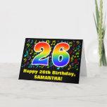 [ Thumbnail: 26th Birthday: Colorful Music Symbols & Rainbow 26 Card ]