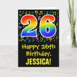 [ Thumbnail: 26th Birthday: Colorful Music Symbols + Rainbow 26 Card ]