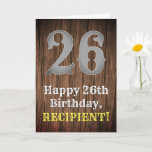 [ Thumbnail: 26th Birthday: Country Western Inspired Look, Name Card ]