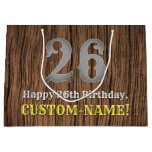 [ Thumbnail: 26th Birthday: Country Western Inspired Look, Name Gift Bag ]